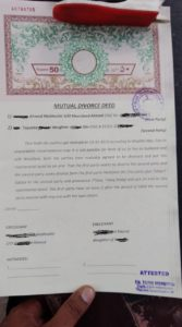 Sample of mutual divorce deed
